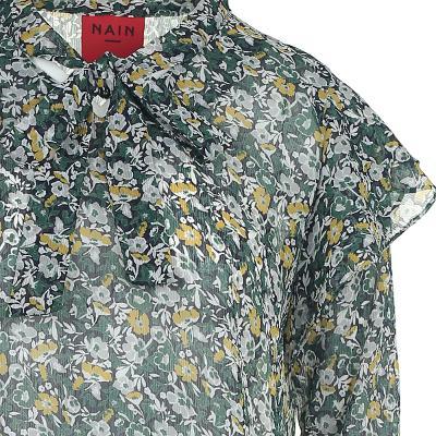 flower pattern ruffle detail blouse